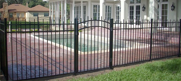 Decorative pool security fence